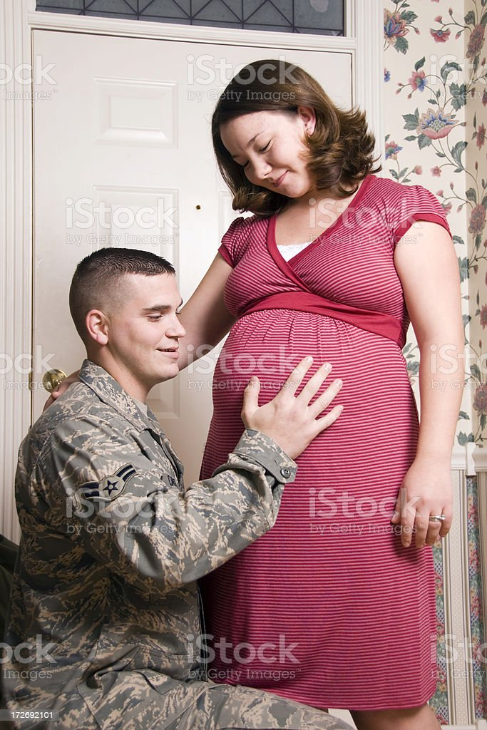 Soldier and wife stock photo