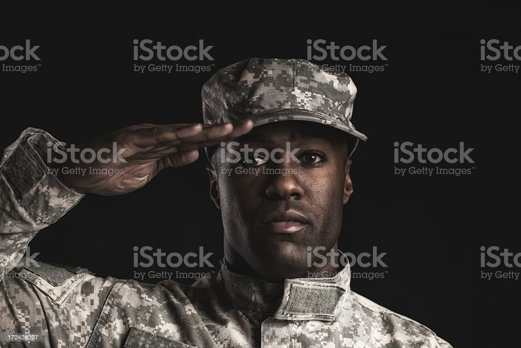 soldier at attention royalty-free stock photo
