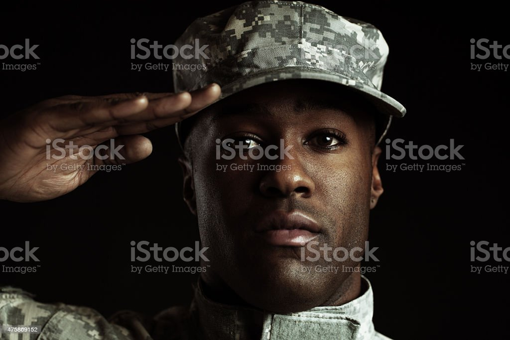 soldier at attention stock photo