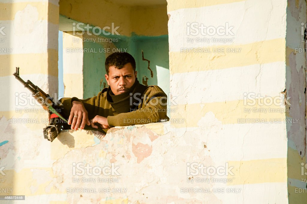Soldier at security checkpoint stock photo