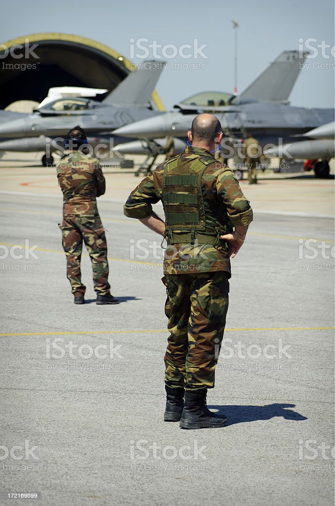 Soldier at the airport - 4 royalty-free stock photo