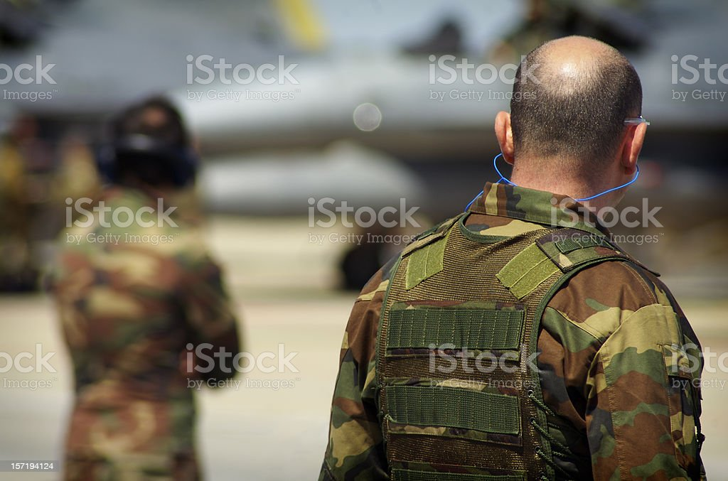 Soldier at the airport royalty-free stock photo