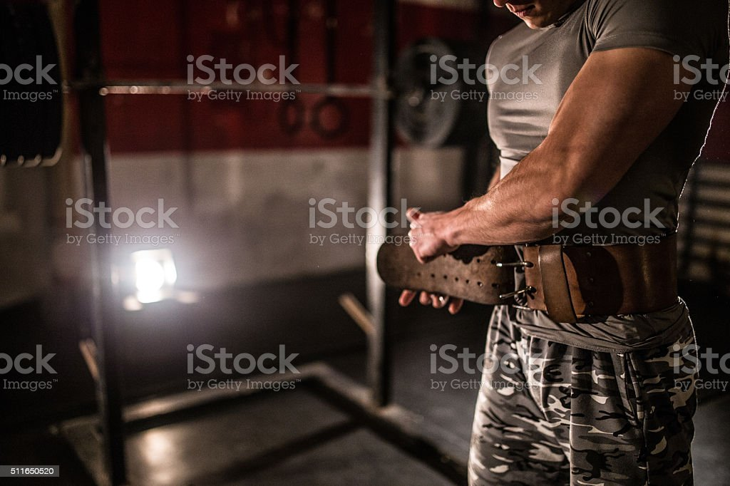 Soldier at the gym stock photo