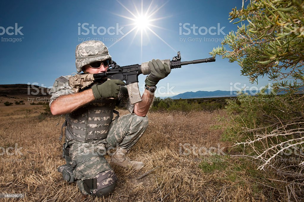 Soldier at the Ready royalty-free stock photo