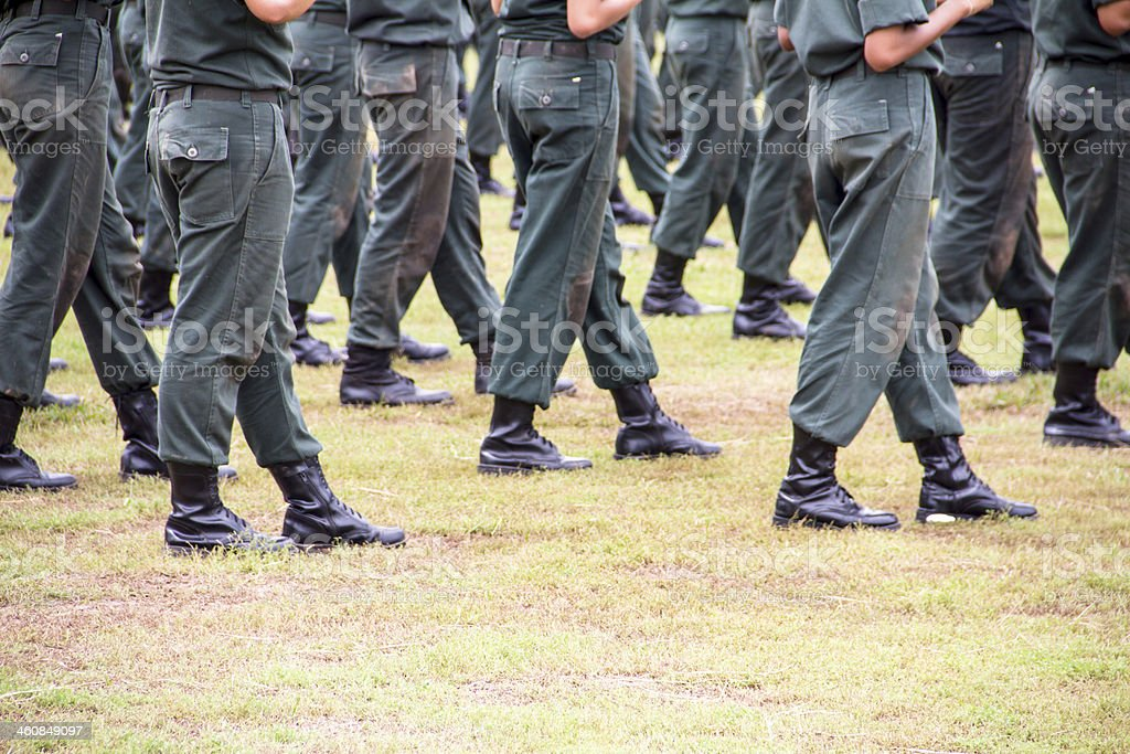 Soldier boot row stock photo