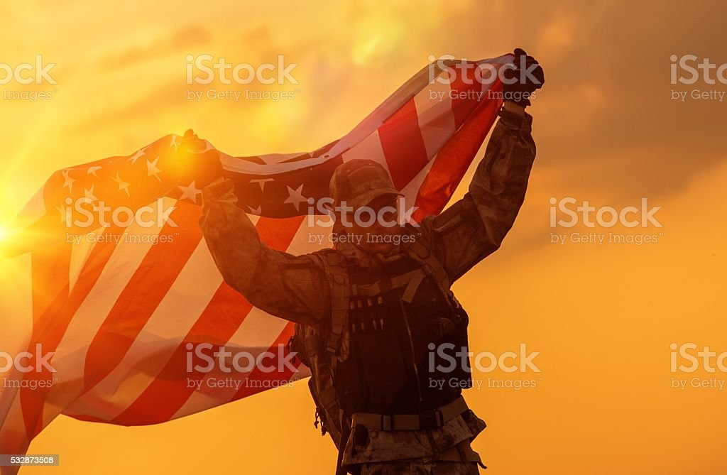 Soldier Celebrating Victory stock photo