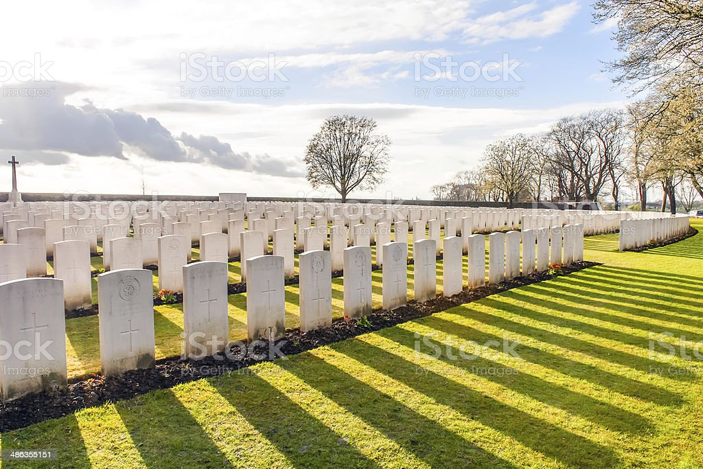 Soldier Cemetery world war one flanders Belgium stock photo