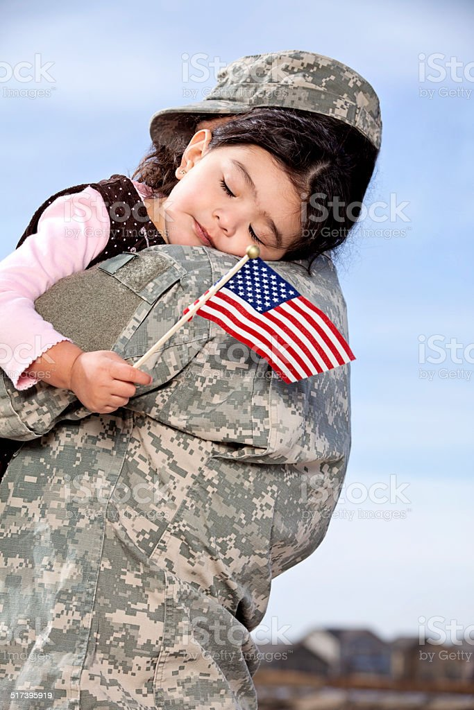 U S Soldier & Daughter stock photo