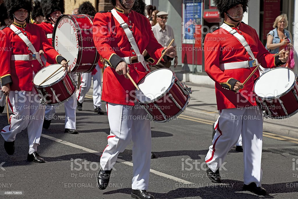 Soldier drummers on parade stock photo