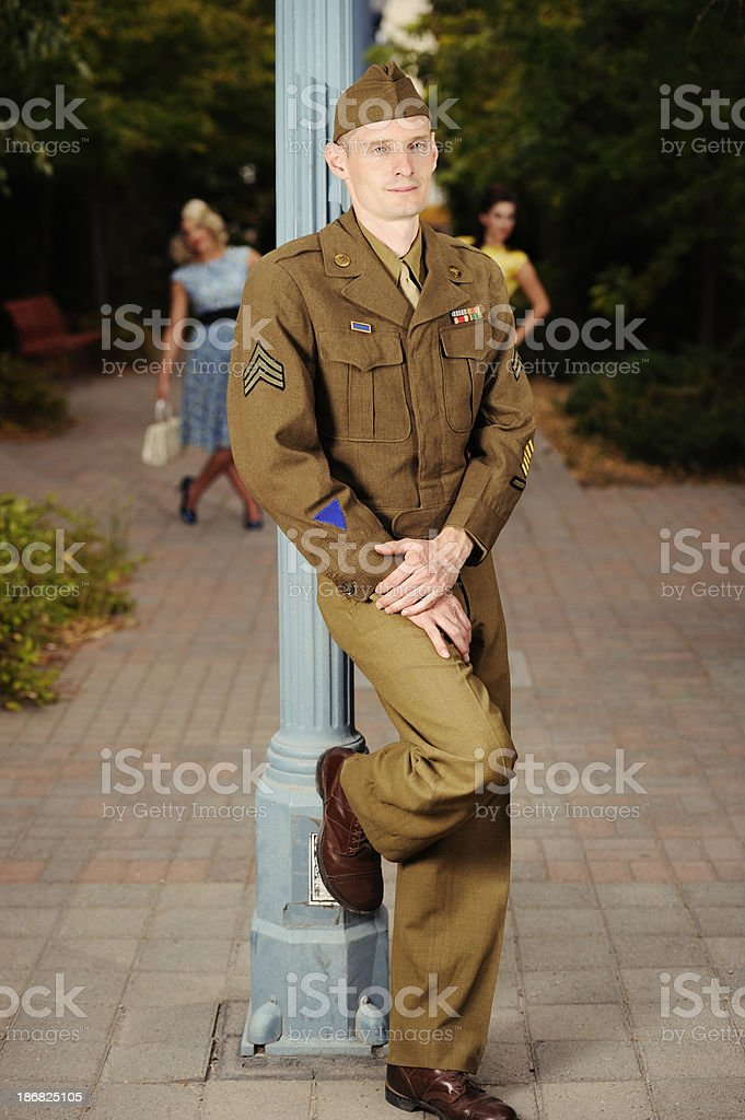 WWII US Soldier Enjoying Some Rest And Relaxation royalty-free stock photo