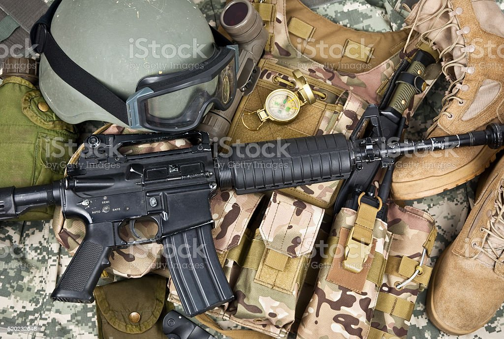 soldier equipment of NATO forces stock photo