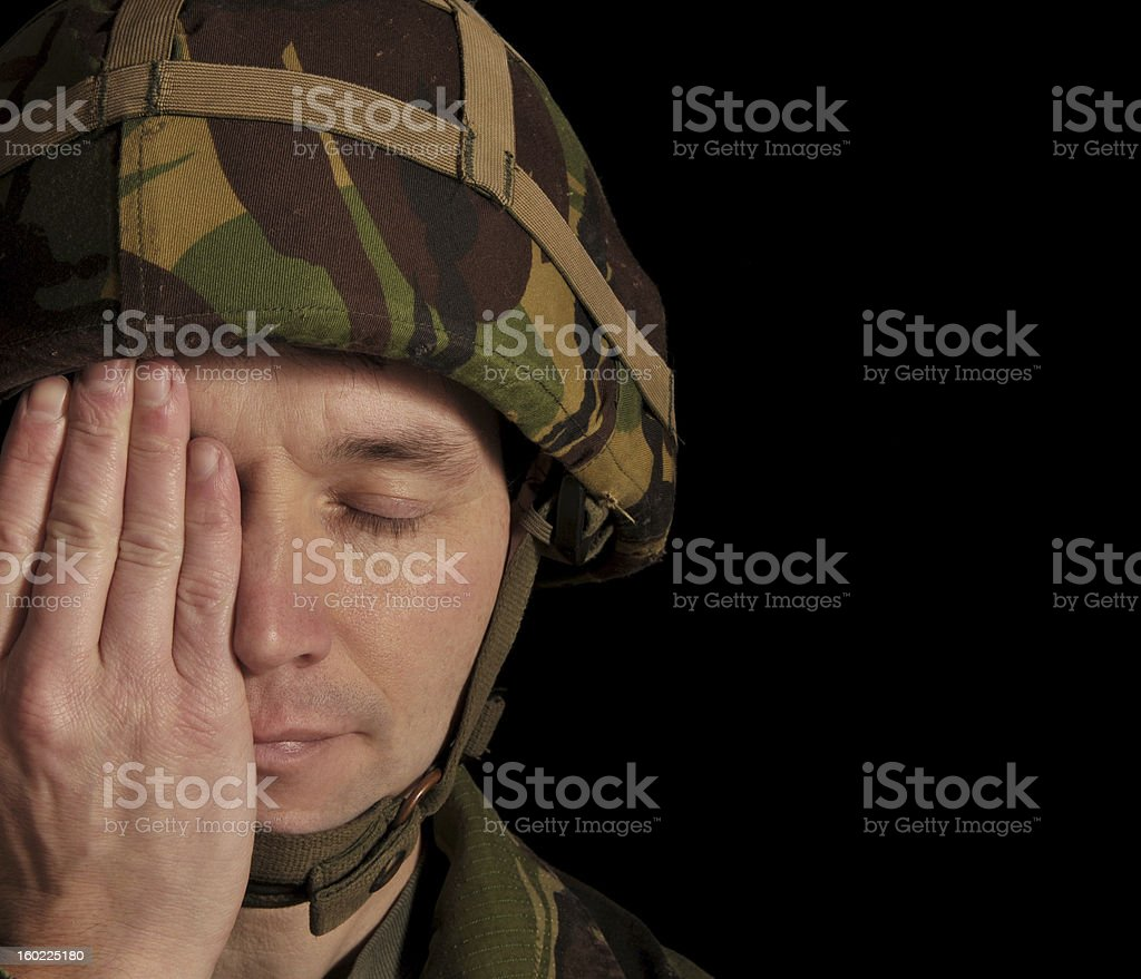 Soldier Eyes Covered/Closed royalty-free stock photo