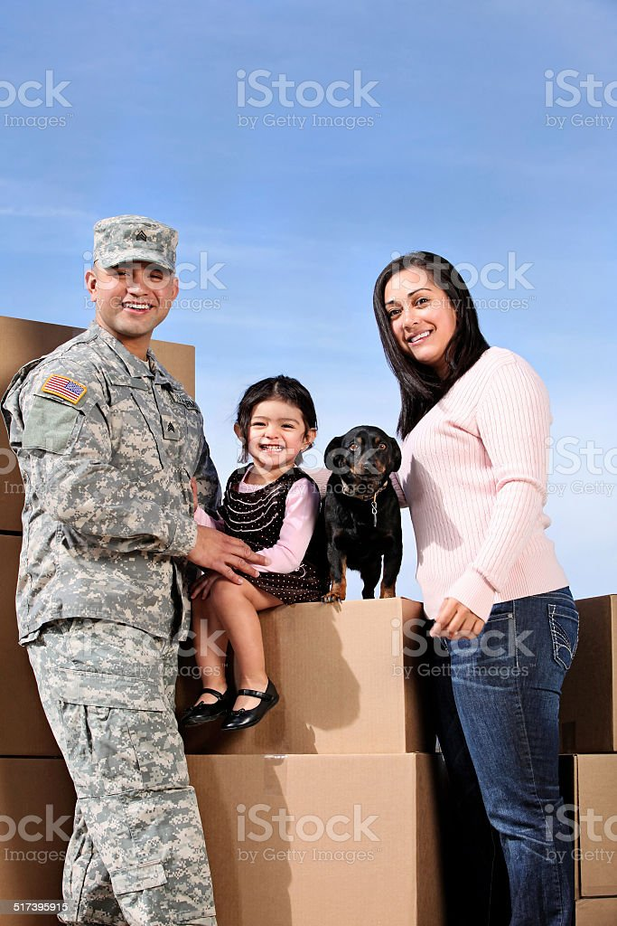 U S Soldier & Family stock photo