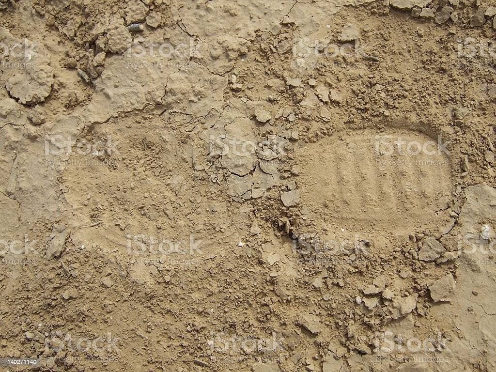 Soldier foot print stock photo