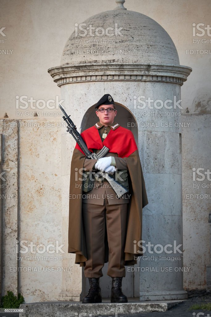 Soldier guard, Quirinale palace, Rome stock photo