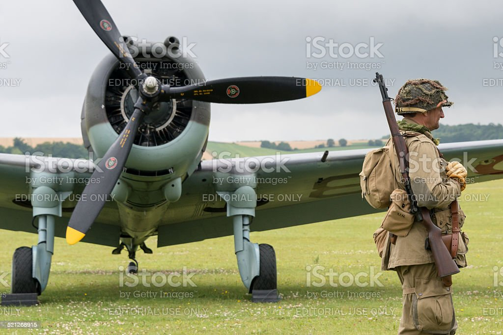 Soldier guarding aircraft stock photo