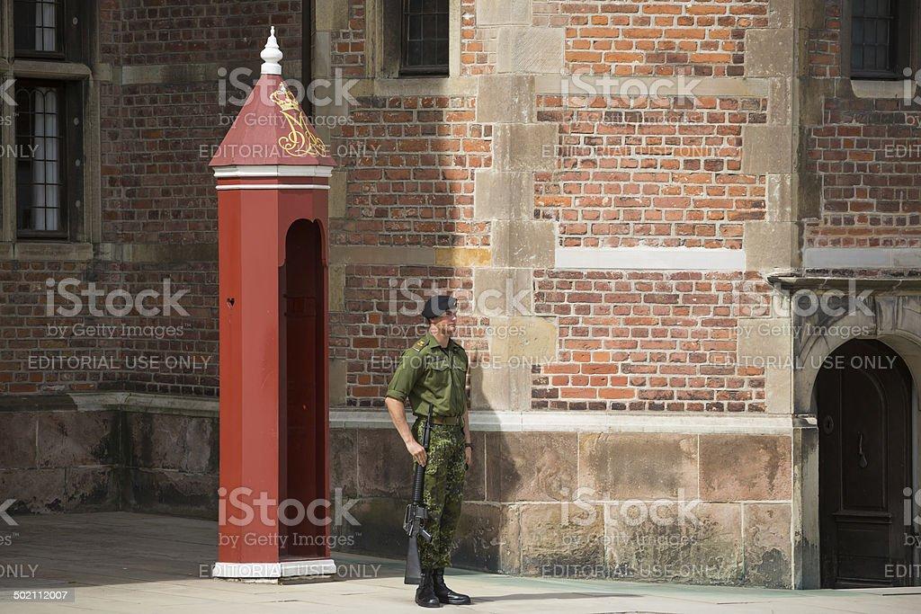 Soldier guarding Rosenborg Castle stock photo