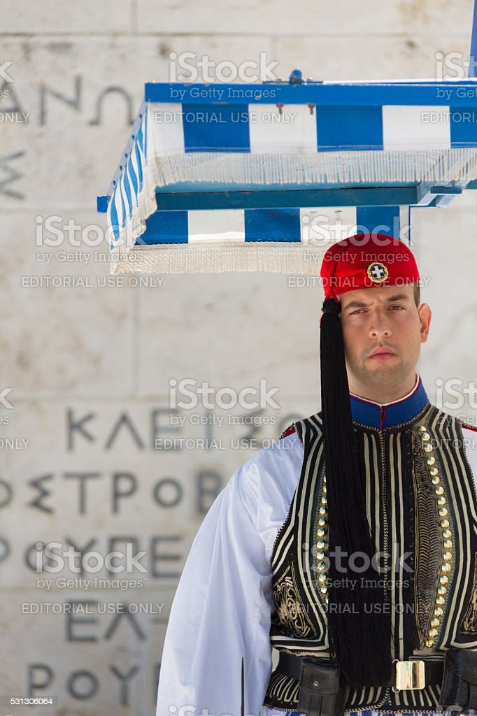 Soldier guardsing Tomb of the Unknown Soldier at Syntagma Square stock photo