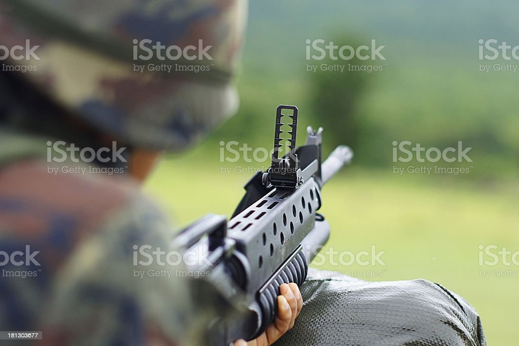 Soldier Gunman Aiming His Target royalty-free stock photo