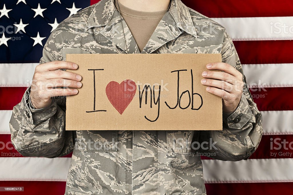 Soldier Happy in His Job stock photo