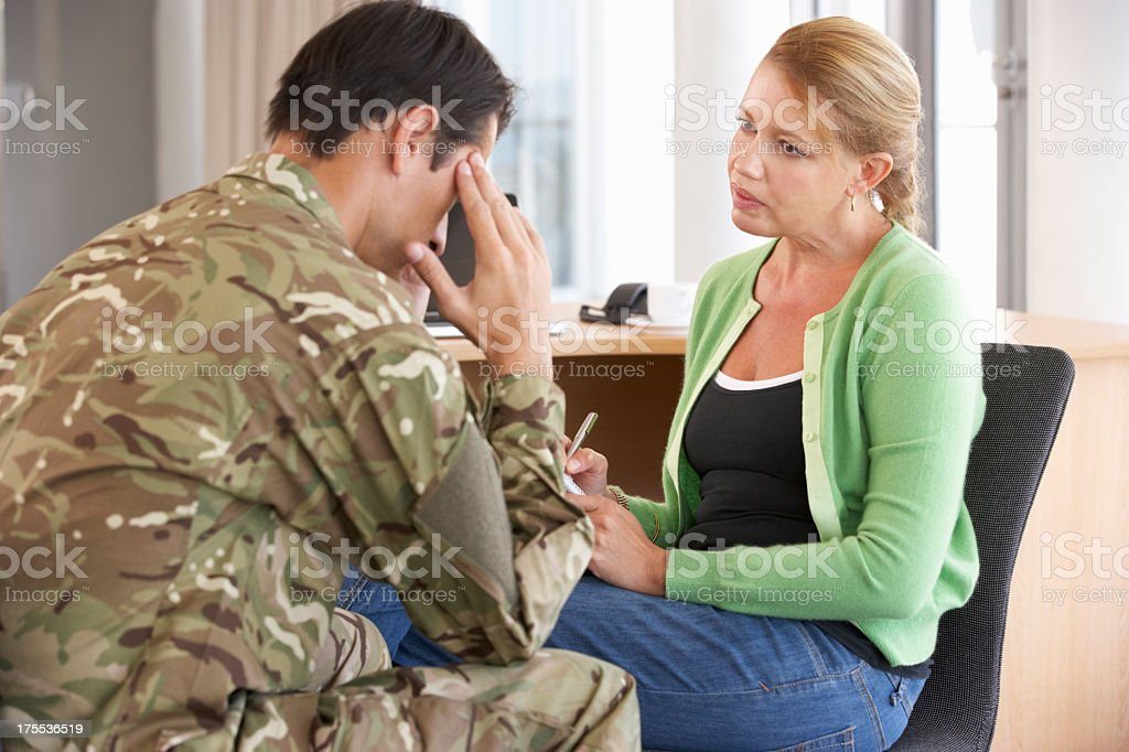 Soldier Having Counselling Session stock photo
