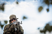 Soldier holding weapon