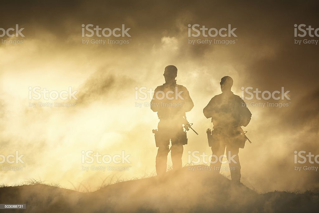 Soldier in a Fog of War stock photo