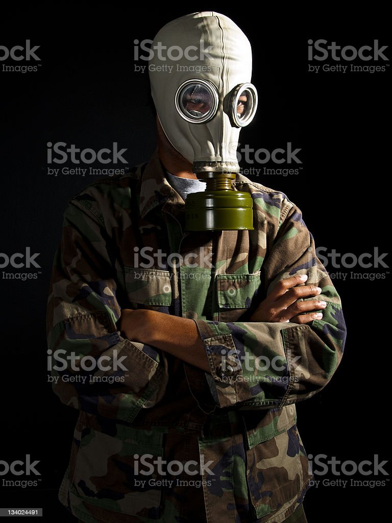 Soldier in a Nuclear Apocalypse on a Black Background royalty-free stock photo