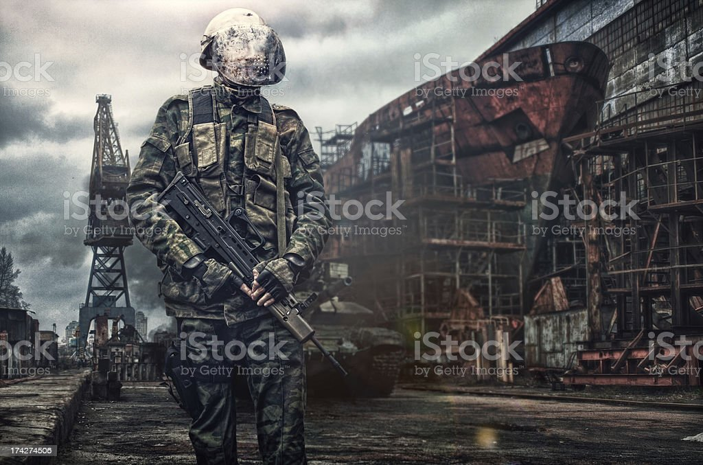 soldier in action outdoor stock photo