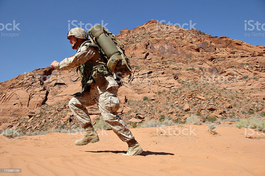 Soldier in Action royalty-free stock photo