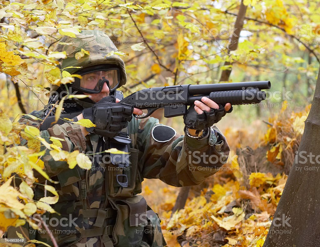 soldier in an uniform, asg battle stock photo