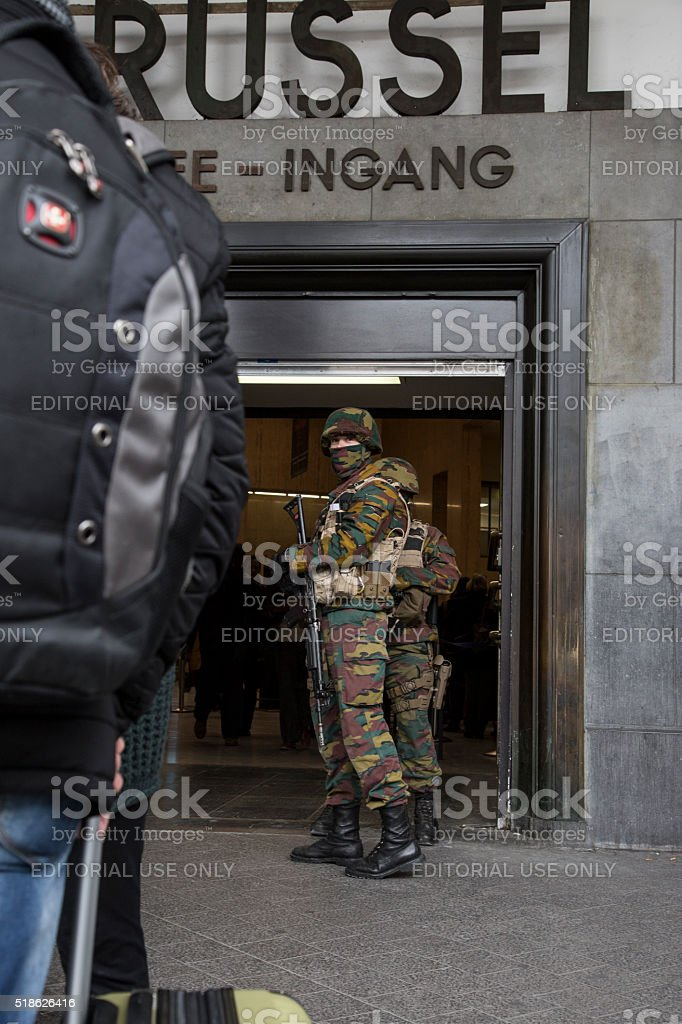 Soldier in front of the Brussels-Central train station stock photo