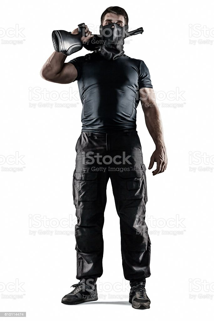 Soldier in mask with sniper rifle isolated stock photo