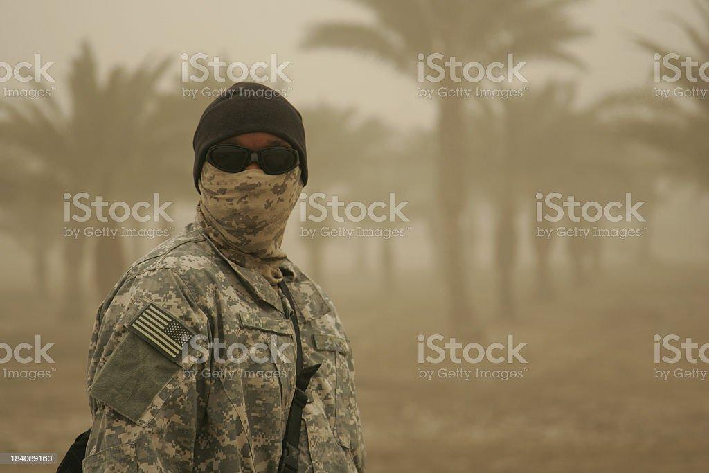 Soldier in Sandstorm stock photo