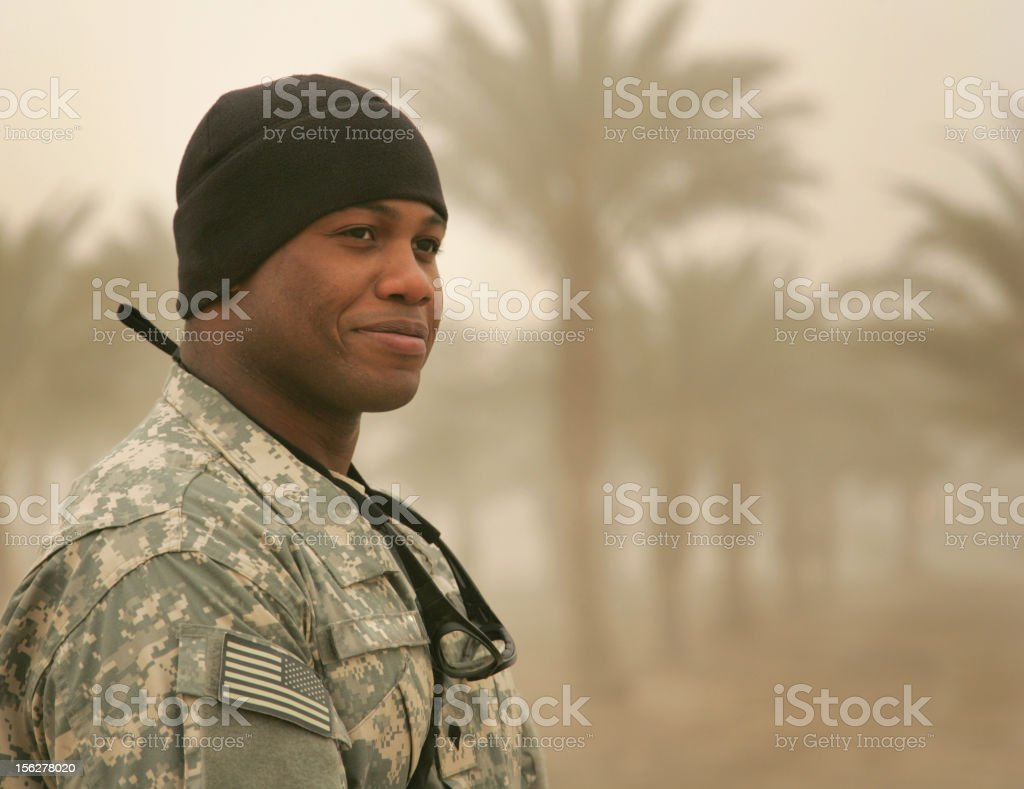 Soldier in Sandstorm Smile royalty-free stock photo