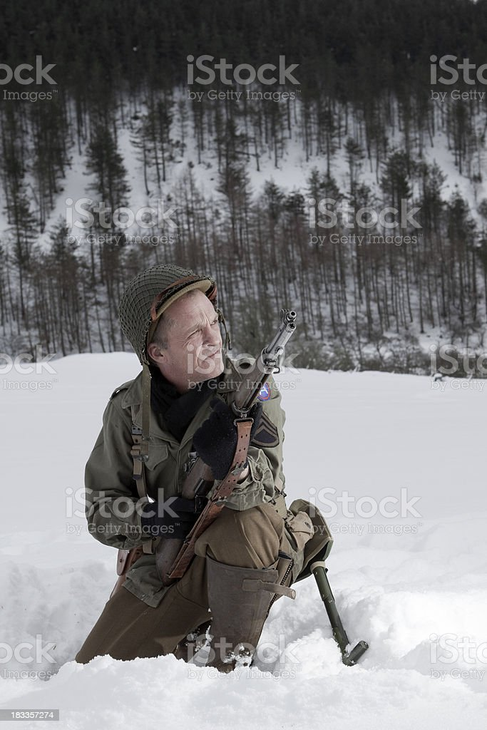 Soldier in snow stock photo