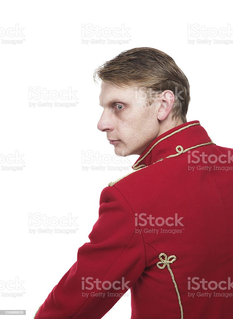 soldier in the ancient form stock photo