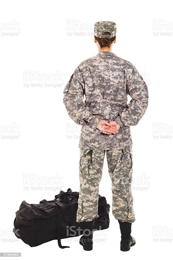 Soldier in the military uniform stock photo