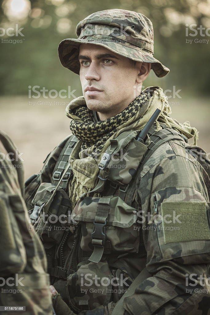 Soldier in uniform stock photo