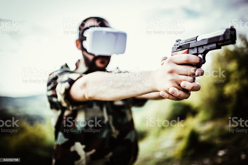 Soldier in VR space stock photo