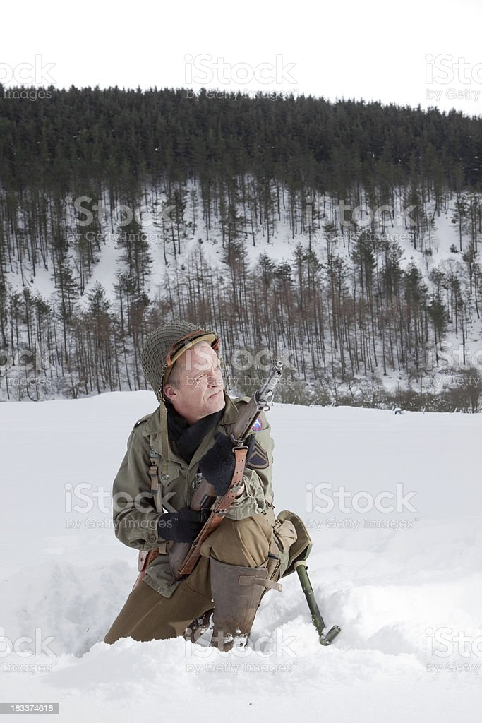 Soldier in winter stock photo