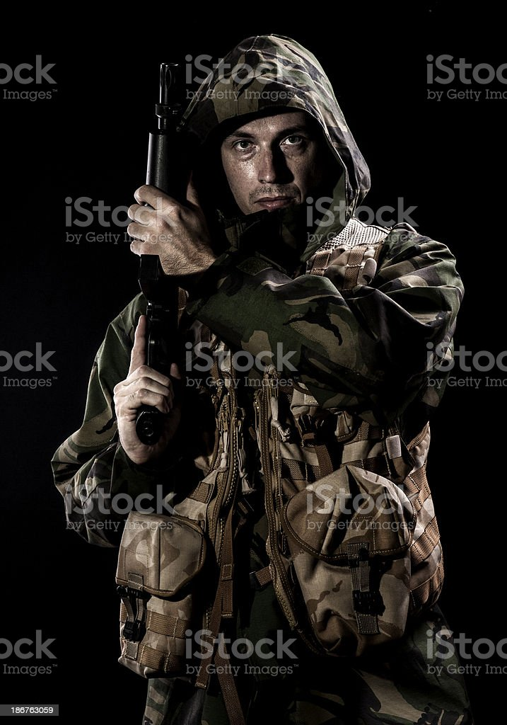 Soldier looking at camera royalty-free stock photo
