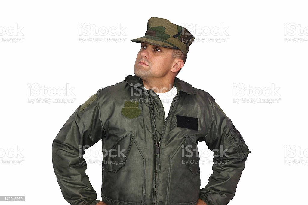 Soldier Looking Up royalty-free stock photo