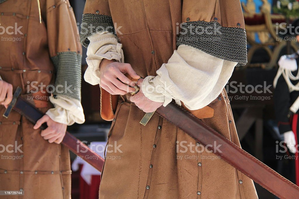 Soldier medieval times stock photo