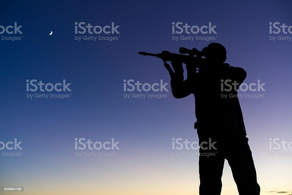 Soldier Militia Man Holding Assault Rifle Silhoueete stock photo