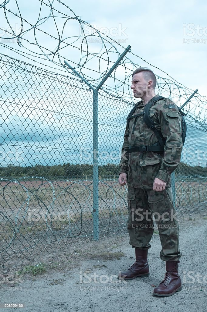 Soldier missing family stock photo