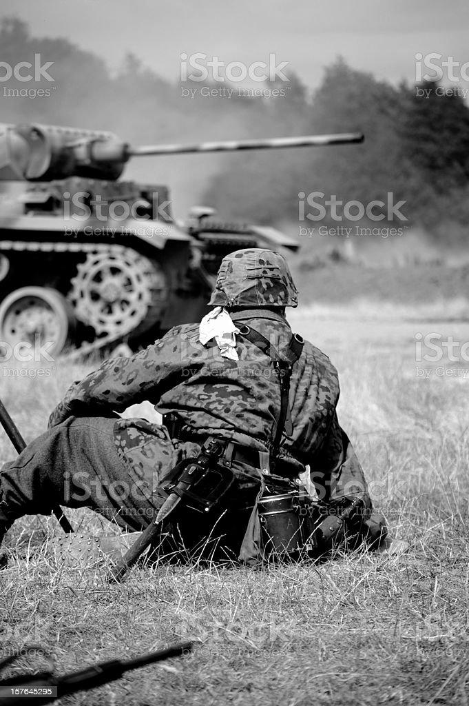 Soldier near Tank. stock photo