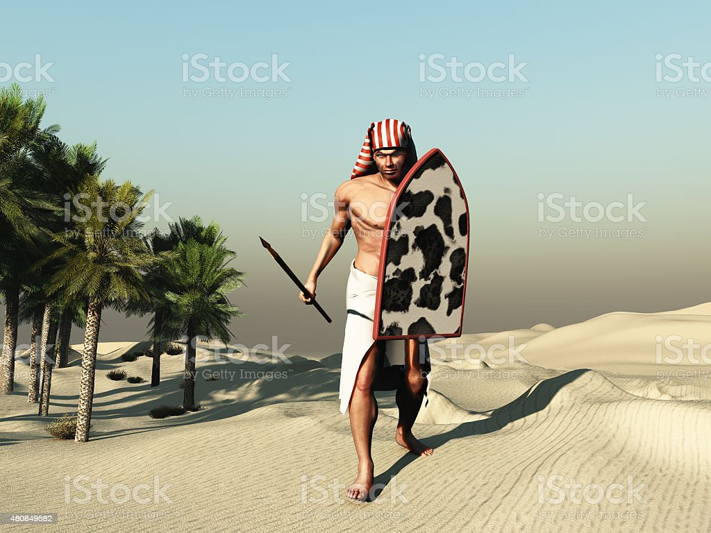 Soldier of ancient Egypt stock photo