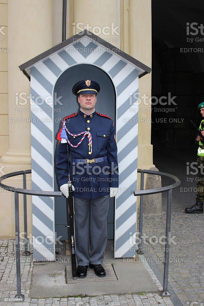 Soldier of Elite Prague Castle Guard stock photo