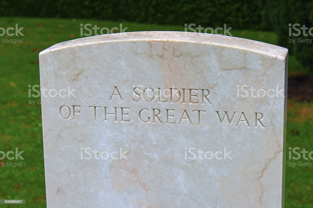 soldier of the great war Bedford house cemetery. stock photo